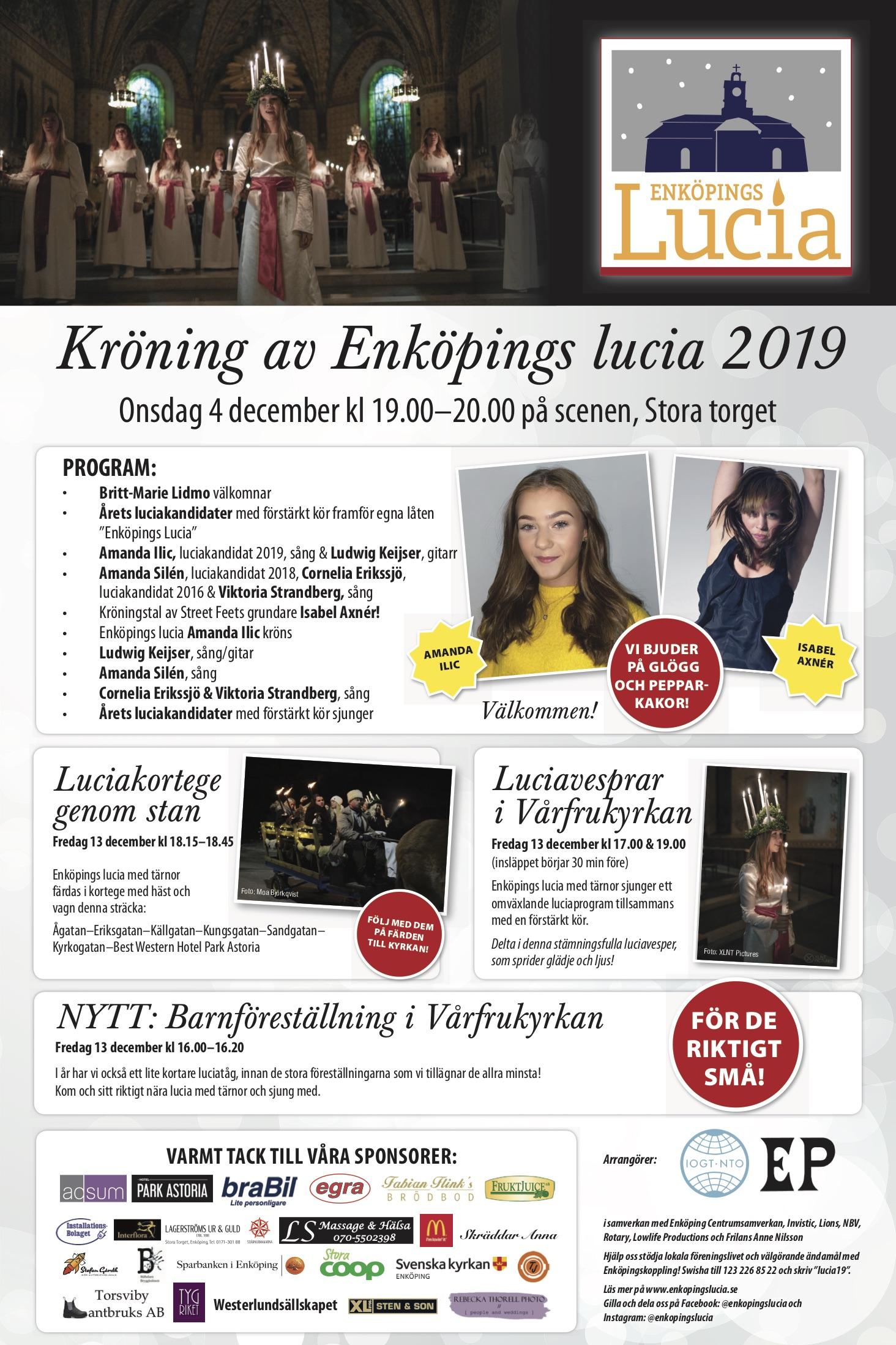 Kröning av Enköpings lucia 2019 Amanda Ilic 4 december på Stora torget, Enköping.