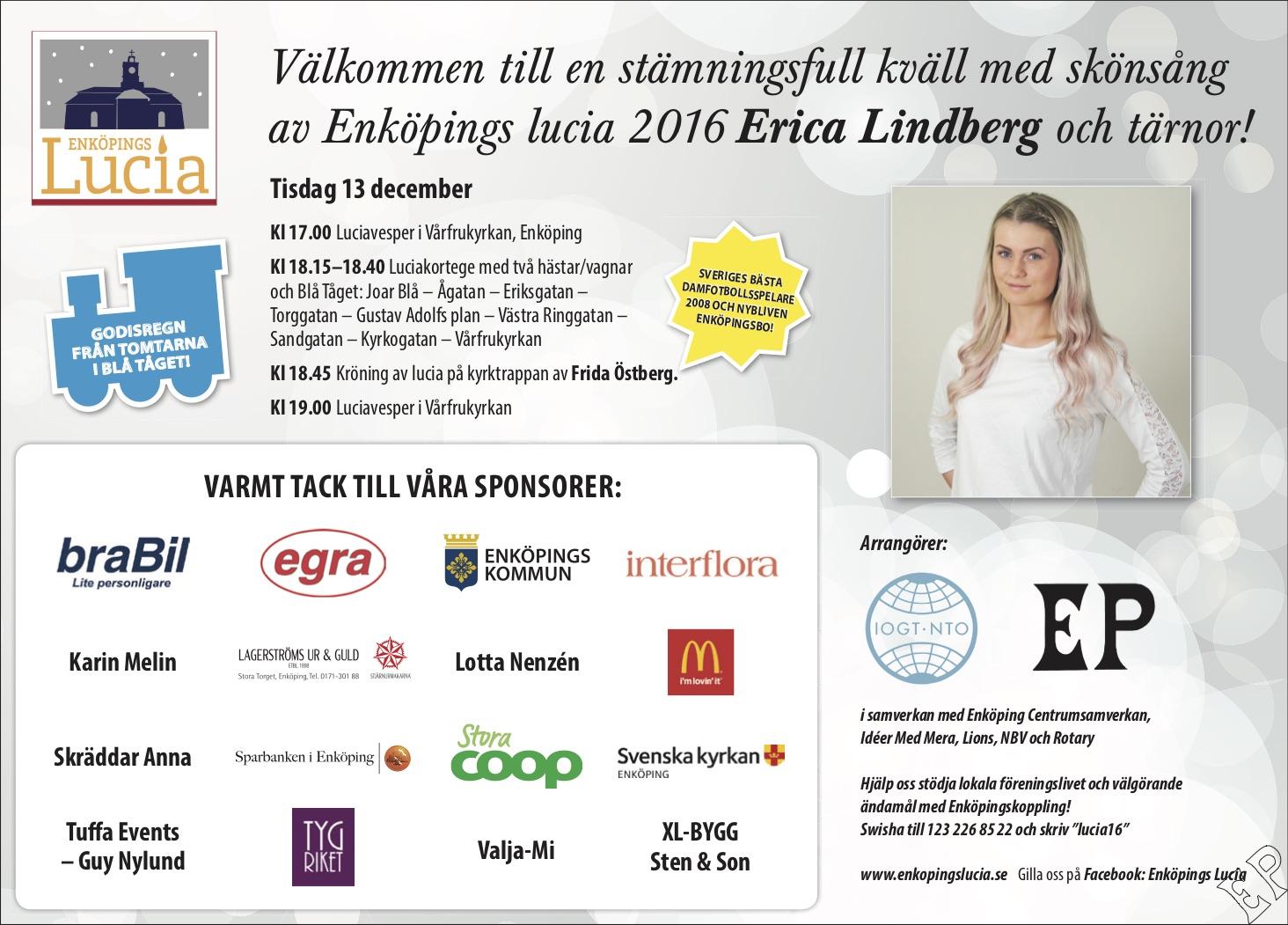 Annons om Enköpings Lucia 2016 i Enköpings-Posten.