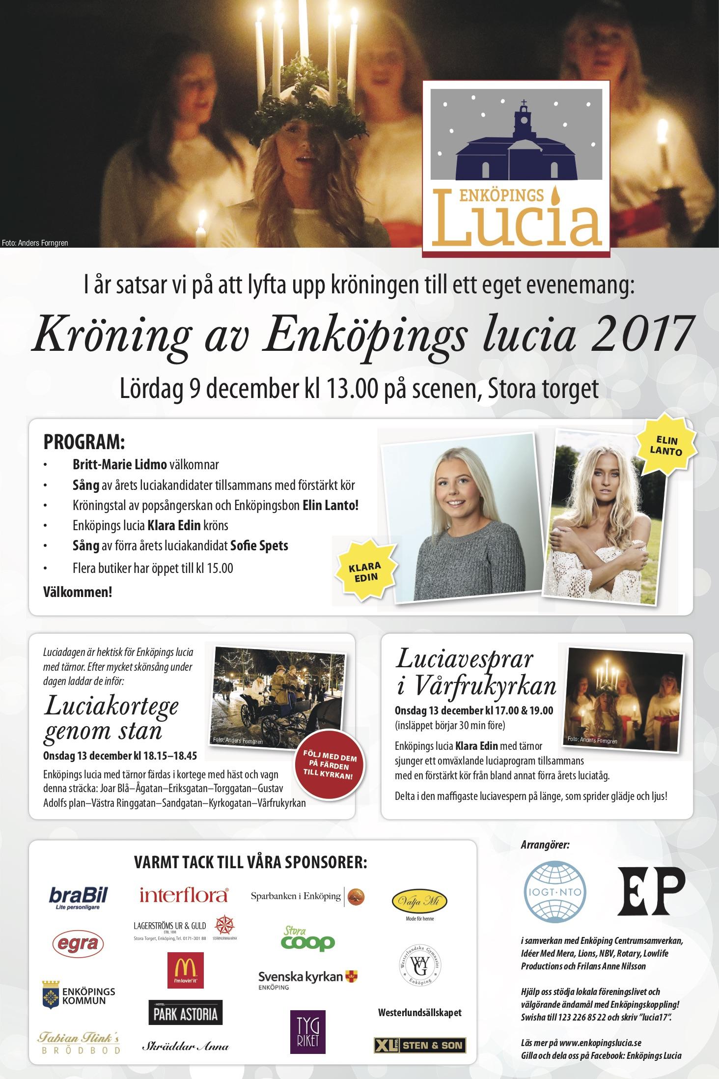 Annons om Enköpings Lucia 2017 i Enköpings-Posten.