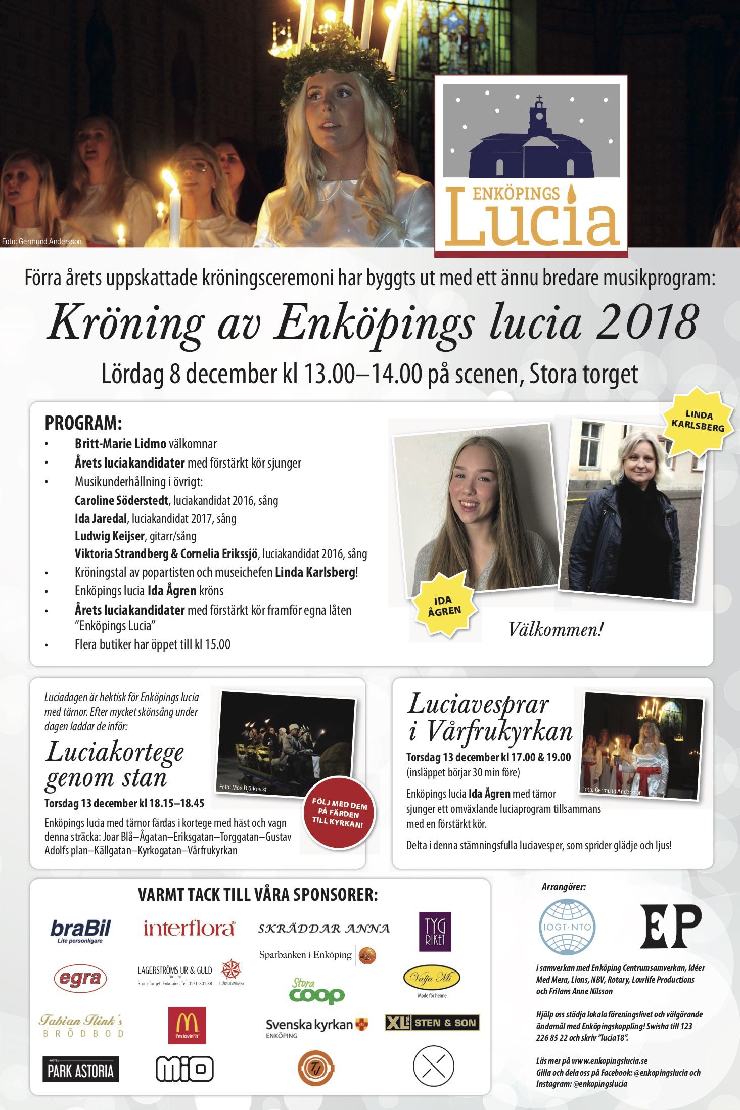 Annons om Enköpings Lucia 2018 i Enköpings-Posten.
